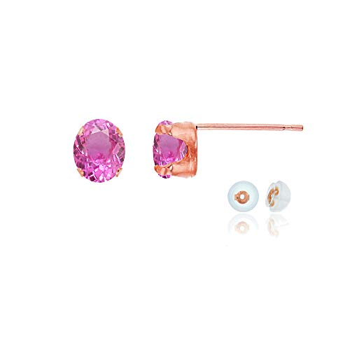 Genuine 14K Solid Rose Gold 6x4mm Oval Created Pink Sapphire Birthstone Stud Earrings