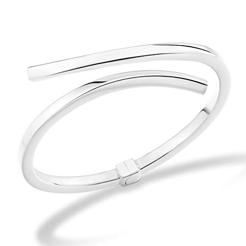 MiaBella 925 Sterling Silver Italian Bypass Hinged Bangle Bracelet Jewelry for Women 7.25 inch