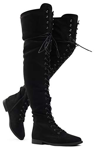 - Women's Over The Knee Low Heel Kate Lace Up Tall Boots Black 6.5