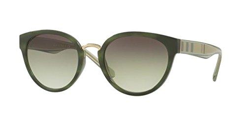 Burberry Women's BE4249 Sunglasses Striped Green/Clear Grad Green Grad Black 53mm