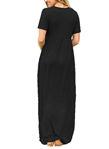 Short Sleeve Casual Women's Dress Maxi Black Neck Long Round Lovezesent 76gvPW