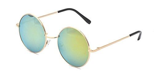 ALWAYSUV Classic Round Circle Mirrored Lens Thin Frame John Lennon Sunglasses - Glasses Lennon John Yellow