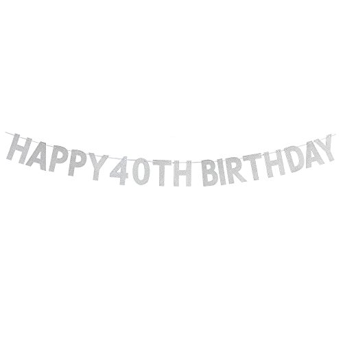 Happy 40th Birthday Banner - Cheers to 40 Years Birthday Anniversary Party Supplies, Ideas and Decorations - Silver]()