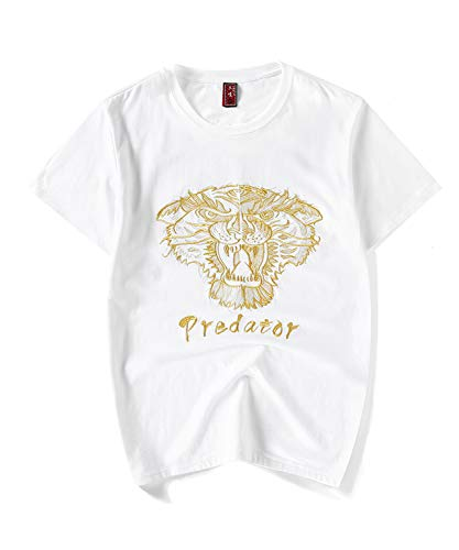 (Calboom T Shirts for Men Graphic Short Sleeve Crewneck Cotton Tees Funny Frog White T-Shirt (Tiger White, Large))