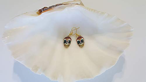 Jewelry-Hand gold earrings, with spider eyes artistic enamel Dia De La Morte/Skull Candy colorful charms 7/8