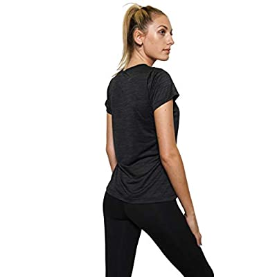 5-Pack Women's Short Sleeve V-Neck Activewear T-Shirt Dry-Fit Moisture Wicking Perfomance Yoga Top: Clothing