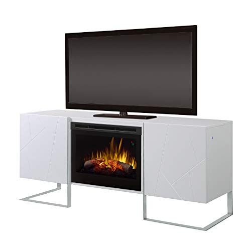 (DIMPLEX Chase Media Console Fireplace with Logs Gloss White/1500)