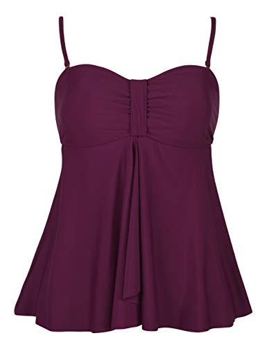 (Hilor Women's Flyaway Tankini Top Bandeau Swimsuit Flowy Bathing Suit Burgundy 14)