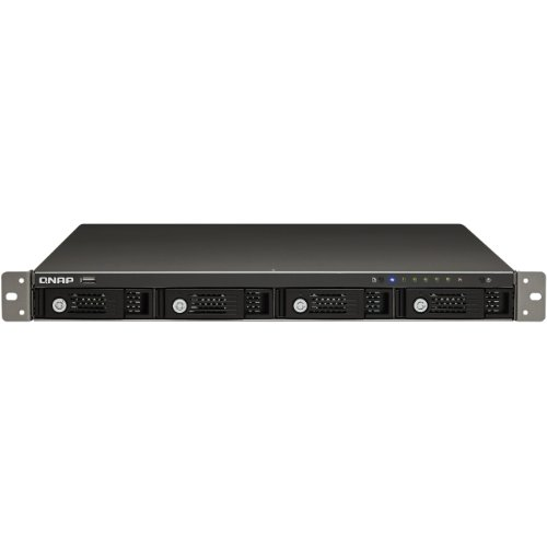 QNAP 4-bay 1U iSCSI NAS, 1 Power Supply Intel Pineview D525 1.8GHz CPU and 1 GB RAM Network Attached Storage