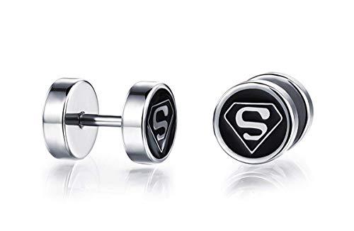 YuRocker Superman Earring Studs for Women Men Stainless Steel Jewelry]()