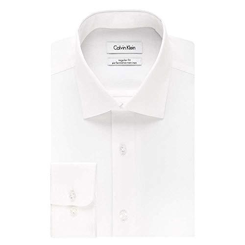 Calvin Klein Men's Regular Fit Non Iron Herringbone Spread Collar Dress Shirt, White, 17.5