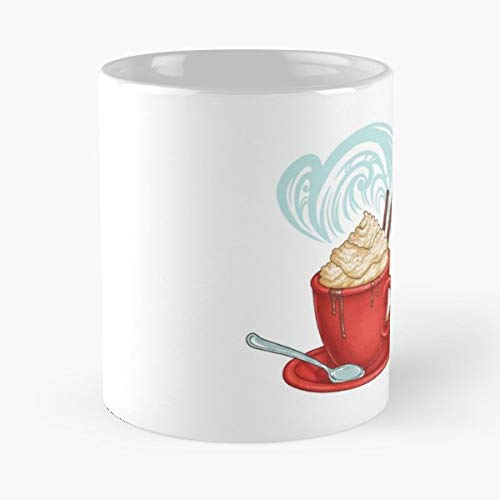 Holidays Christmas Hot Chocolate Cocoa - 11 Oz Coffee Mugs Unique Ceramic Novelty Cup, The Best Gift For Holidays. -