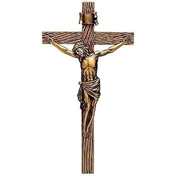 Roman Jesus Christ Nailed to Crucifix Bronze 13 Inch Resin Stone Wall Cross Crucifix