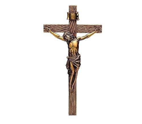 Crucifix Wood Cross - Joseph Studio Wood Inspired Bronze Wall Cross Crucifix Jesus Christ 62153