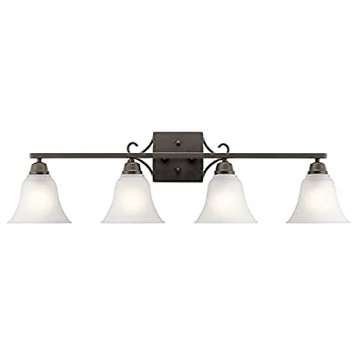 "Kichler Lighting Bixler Olde Bronze 4 Arm Bathroom Wall Sconce w/ 4 Light 100W - Product Dimensions:9.25"" (H) x 34.75"" (W) Finish:Olde Bronze Material:Steel - bathroom-lights, bathroom-fixtures-hardware, bathroom - 31lxR3uJzyL. SS400  -"