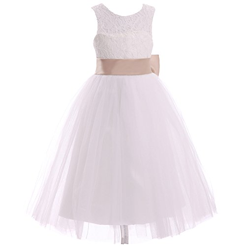 Party Keyhole - Coco Bridal Lace & Tulle Keyhole Flower Girl Dress Wedding Party Kids Toddler Children Little Girl (Infant-12) (12, Ivory Champagne)