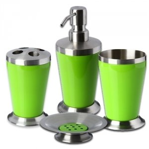 Accessoires cuisine vert for Accessoires de salle de bain vert anis