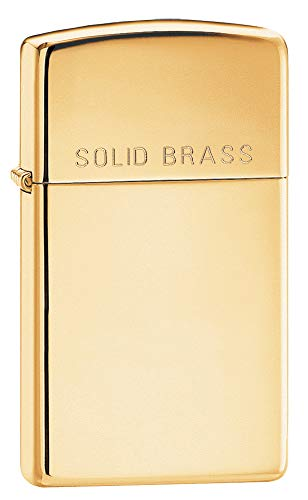 (Zippo Slim Engraved Pocket Lighter, High Polish Brass)