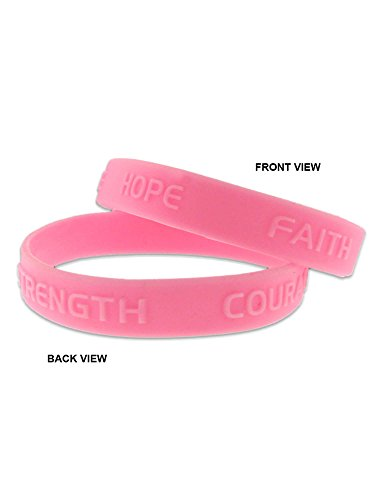 PinMart Pink Hope Faith Courage Strength Breast Cancer Awareness Rubber -