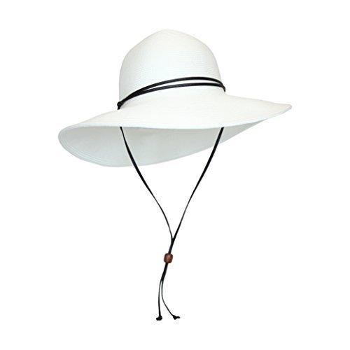 - White Packable Cotton Fabric Sun Hat, Wide Circle Brim w/ Chin Strap, UPF 50+
