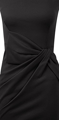 Sans Midi Bow Bodycon Tunique Proue Side Manches Noir De Slant C Plaine t Peplum Fast Robe Fashion Femmes Soire EqRAzz