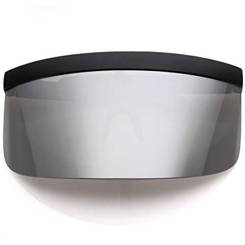 50bd37a957 sunglassLA - Futuristic Oversize Shield Visor Sunglasses Flat Top Mirrored  Mono Lens 172mm (Silver Mirror)