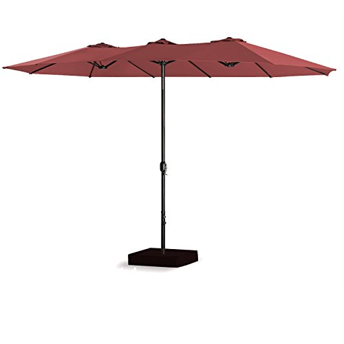 PATIO TREE 15 Ft Double-Sided Outdoor Market Umbrella 12 Ribs, Crank System, 100% Polyester, Base Included, Burgundy For Sale