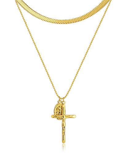 Aeici Stainless Steel Gold Plated Cross and Virgin Mary Pendant Necklace for Women 30CM Snake Necklace Set (Gothic Plated Gold)