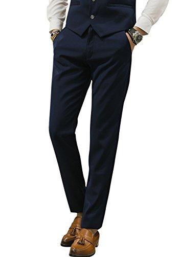 MOGU Mens Slim Fit Front Flat Casual Pants US Size 29 Navy