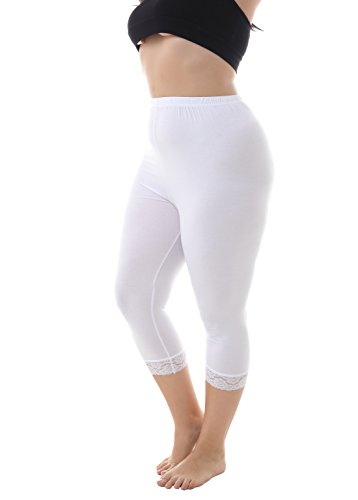 Zerdocean Women's Plus Size Modal Capri Leggings Hem Lace Trim White 2X