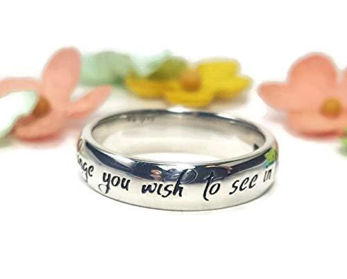 Sterling Silver Mahatma Gandhi\u2019s Quote \u201cBe the change you wish to see in the world\u201d Cuff Bangle Bracelet