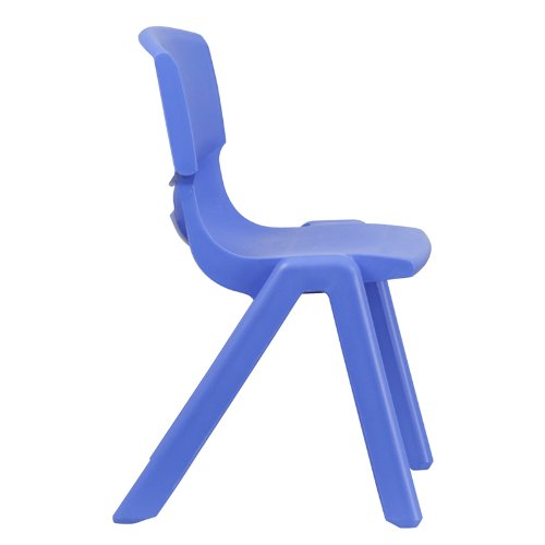 Flash Furniture Blue Plastic Stackable School Chair with 15.5'' Seat Height