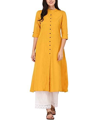 Ladyline Women's Pure Cotton Plain Tunic Top Front Slit 3/4 Sleeves Roll-up Chinese Neck Buttons Down Pocket Long Kurti Kurta Mustard Chest  Body-38-39  ()