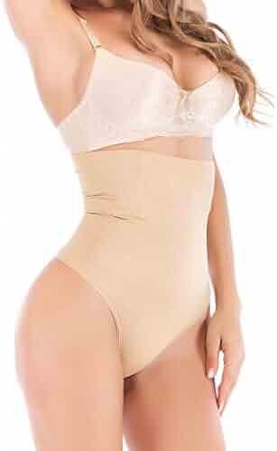 ec67eab59 OMG Shop Womens Basic High-Waist Shapewear Trainer Tummy Control Thong  Panty Underwear