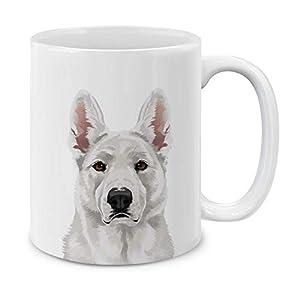 MUGBREW Cute White German Shepherd Dog Full Portrait Ceramic Coffee Gift Mug Tea Cup, 11 OZ 1