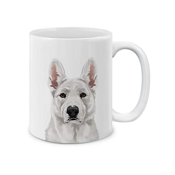 MUGBREW Cute White German Shepherd Dog Full Portrait Ceramic Coffee Gift Mug Tea Cup, 11 OZ 1