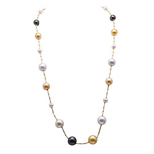 - JYX Pearl Long Station Necklace Genuine Tahitian Pearl & White Akoya Pearl & South Sea Gold Pearl Necklace 8-15.5mm Pearl Beads 18K Gold Station Chain