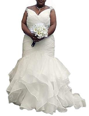 DreHouse Women's Beaded Cap Sleeves Pleats Mermaid Wedding Dresses Plus Size
