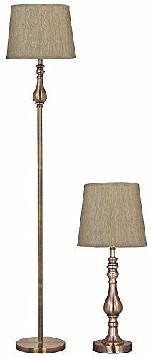 Park Madison Lighting PMT-1814-11 Two Piece Table and Floor Lamp Set in Satin Brass Finish with Hand Crafted Shades, Table Lamp - 21'' Tall, Floor Lamp - 60'' Tall