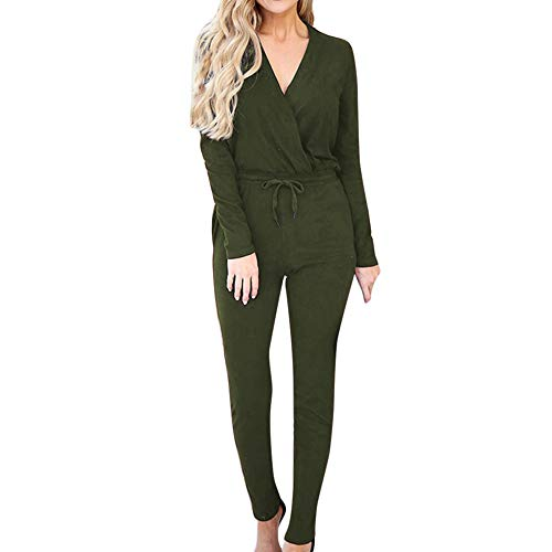 Longay Women's Solid Bandage V-Neck Party Playsuits Ladies