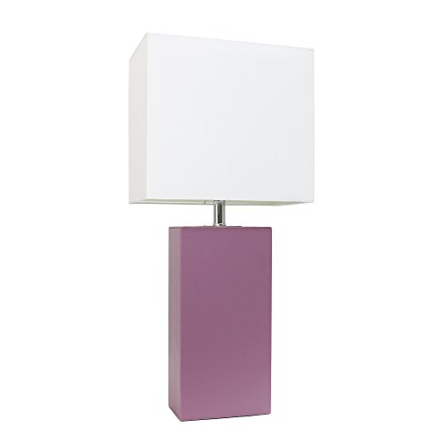 Elegant Designs LT1025-PRP Modern Leather Table Lamp with White Fabric Shade, Purple