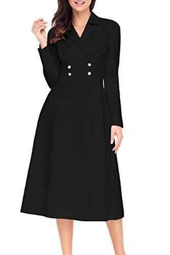 - Alvaq Women Wrap Swing Graduation Midi Dress Long Sleeve Formal Work 1920s Fit And Flare Ladies Dresses  Black X-Large