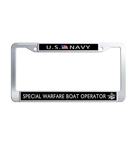 Nuoyizo US Navy Special Warfare Boat Operator License Plate Covers Custom Stainless Steel Metal Waterproof License Cover Holder with Bolts Washer Caps for US Standard