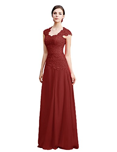 Tidetell Scoop Neck Bridesmaid Dresses Long Lace Prom Dress Burgundy Size 10
