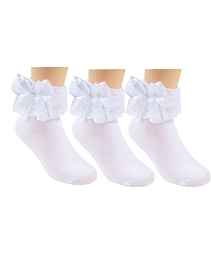 3 Pack Little Girls Cotton Lace Ruffle Princess Style Dress Socks 2T-3T(13cm-15cm), White