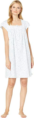 Eileen West Women's Cotton Jersey Short Nightgown White Ground Floral Multi X-Large