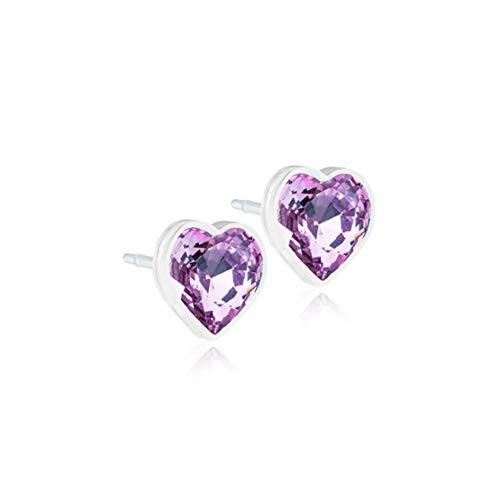 - Blomdahl Medical Plastic Earrings with 6 mm Heart Crystal - Hypoallergenic for Sensitive Ears … (Light Amethyst)
