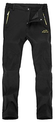 Singbring Men's Outdoor Waterproof Hiking Mountain Pants Medium Black(026)