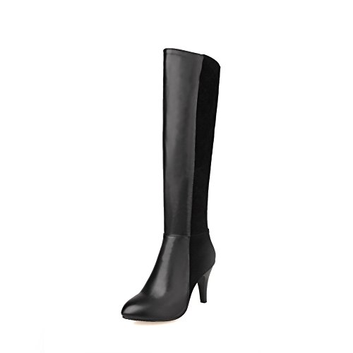 1TO9 Ladies Stiletto Zipper Color Matching Thick Bottom Heel Imitated Leather Boots Black 3V1xB