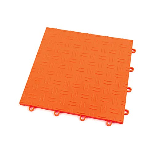 IncStores Diamond Grid-Loc Garage Flooring Snap Together Mat Drainage Tiles (48 Pack, Harley Orange)